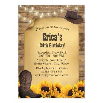 Rustic Sunflower String Lights Cowgirl Birthday Invitation