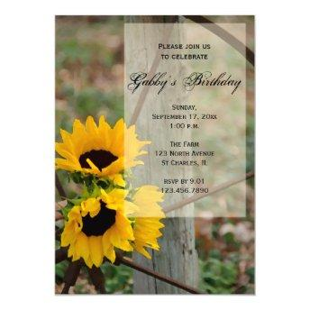Rustic Sunflowers and Wagon Wheel Birthday Party Invitation