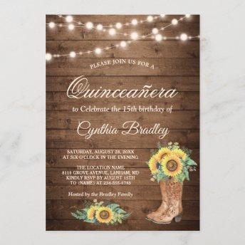 Rustic Sunflowers Boots Quinceañera 15th Birthday Invitation