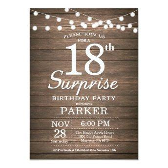 Rustic Surprise 18th Birthday Invitation Wood