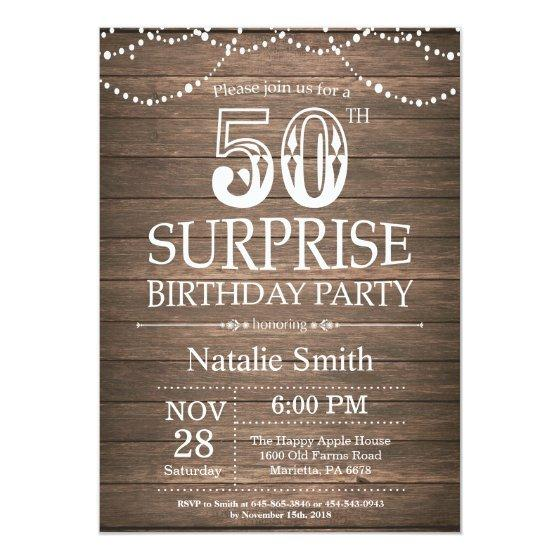 190 Rustic Surprise 50th Birthday Invitation