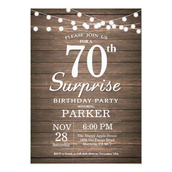 Rustic Surprise 70th Birthday Invitation Wood