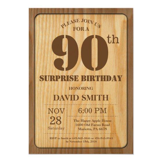 190 Rustic Surprise 90th Birthday Invitation Wood