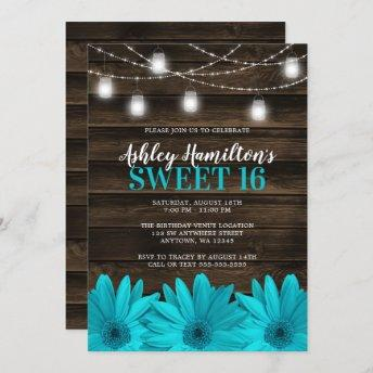 Rustic Teal Daisy Mason Jar Lights Sweet 16 Invitation