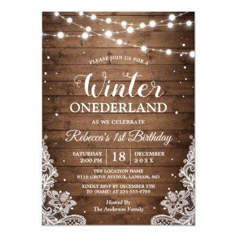 Rustic Winter ONEderland Lace Baby First Birthday Invitation