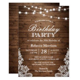 Rustic Wood String Lights Lace Birthday Party