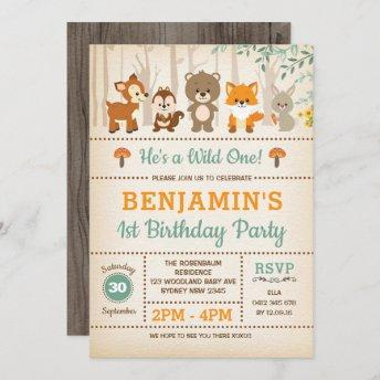 Rustic Woodland Wild One Forest Animals Birthday Invitation