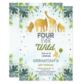 Safari Four Ever Wild Birthday Invitation Green