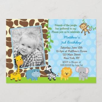 Safari Jungle Animals Photo Birthday Invitation