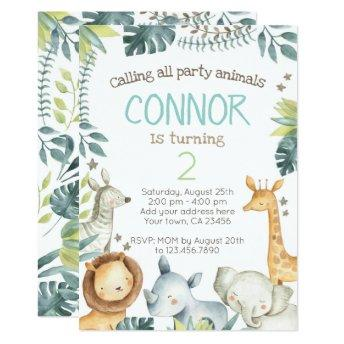 Safari Jungle Birthday Invitation