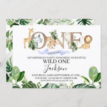 Safari One Boys Birthday Invitation