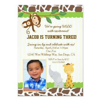 Safari Photo birthday party Invitation