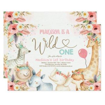 Safari Wild One Birthday Invitation Boho Wild One