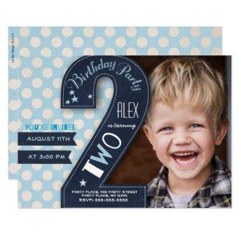 Second Birthday Party Invitation Boy Chalkboard