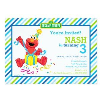 Sesame Street | Elmo - Boys Birthday Striped Invit