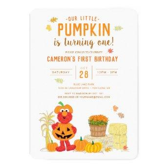 Sesame Street - Elmo | Pumpkin First Birthday Invitation