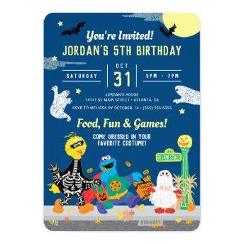 Sesame Street Halloween Birthday Party Invitation