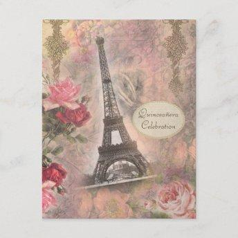 Shabby Chic Eiffel Tower & Roses Quinceanera Invitation