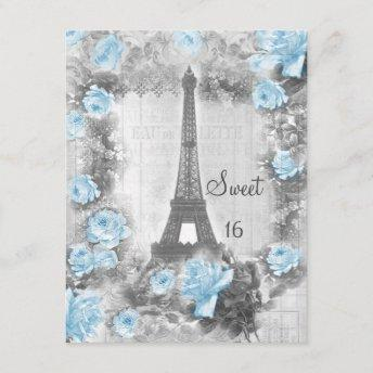 Shabby Chic Eiffel Tower & Roses Sweet 16 Invitation