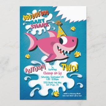 Shark Baby Girl Birthday Party invitation