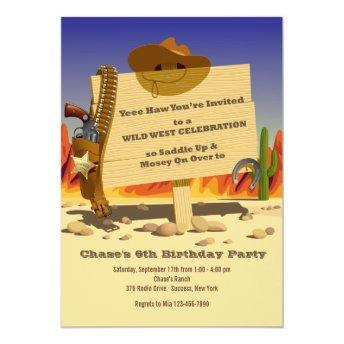 Sheriff's Holster Western Birthday Party Invitatio