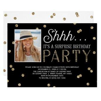 Shh Surprise Bday Party Glitter Photo Invitation