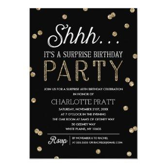 Shh Surprise Birthday Party Faux Glitter Confetti
