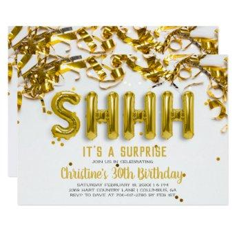 Shhhh Surprise Party Invitation | Gold Balloons