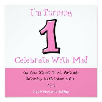 Silly Numbers 1 pink 1st Birthday Invitation