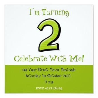 Silly Numbers 2 green Birthday Invitation
