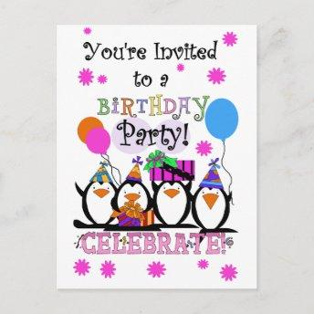 Silly Penguins Birthday Invitation and Invitation