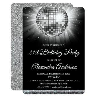 Silver 21st Birthday Party Disco Ball - 70's Party Invitation