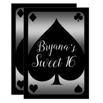 Silver & Black Spade Glam Casino Sweet 16 Party Invitation