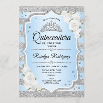 Silver Blue Quinceanera Invitation