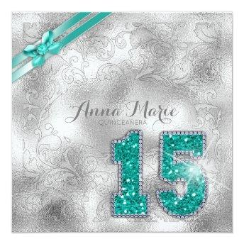Silver Brocade Quinceanera Birthday Teal ID382