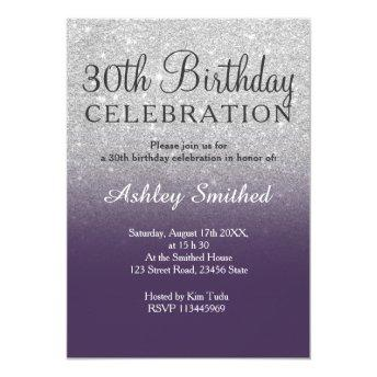 Silver faux glitter purple ombre 30th birthday invitation