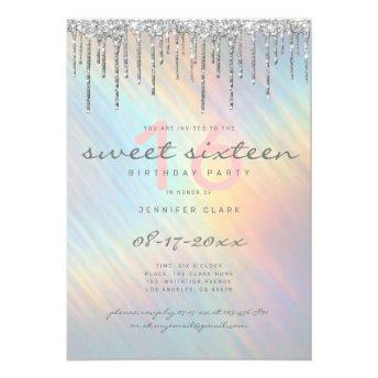 Silver Glitter Drips Rainbow Holographic Sweet 16 Invitation