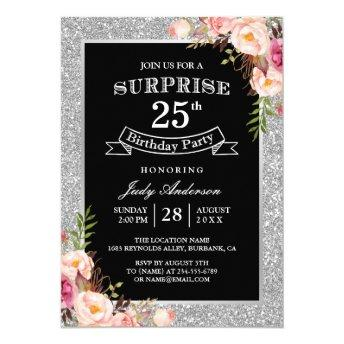 Silver Glitter Floral 25th Surprise Birthday Party