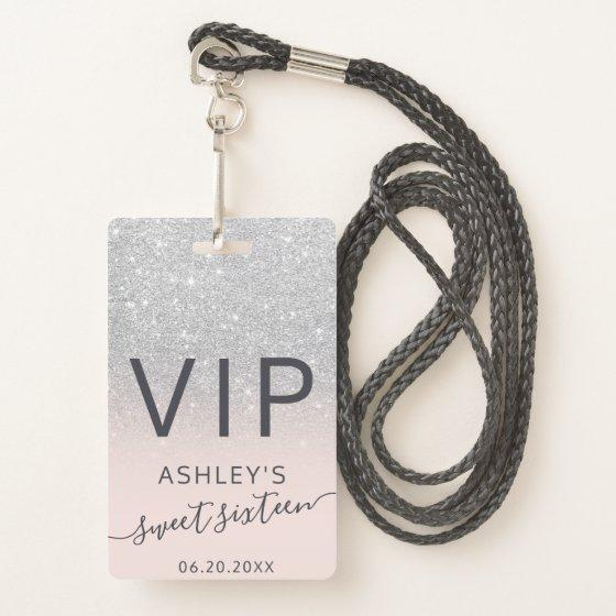 silver glitter ombre typography blush Sweet 16 VIP Badge