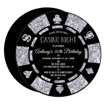 Silver Glitter Poker Chip Casino Night Party Invitation
