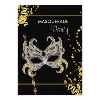 Silver Gold Mardi Gras Masquerade Party Invitation