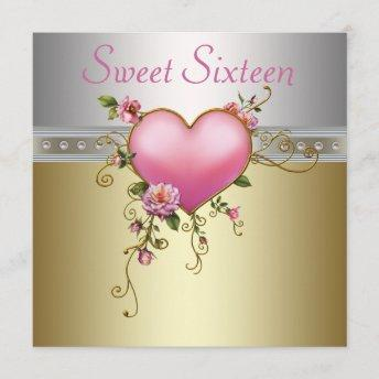 Silver Pink Roses Heart Sweet Sixteen Birthday Invitation