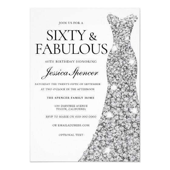 Silver Sparkle Dress 60 & Fabulous 60th Birthday Invitation