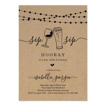 Sip Sip Hooray Birthday Party Invitation