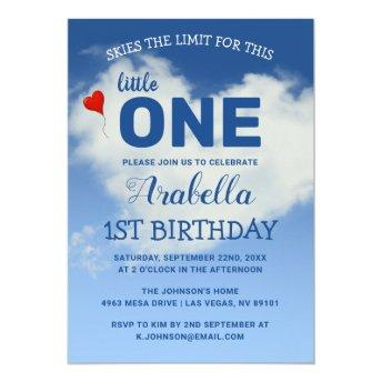 Skies The Limit Little One | Cute 1st Birthday Invitation