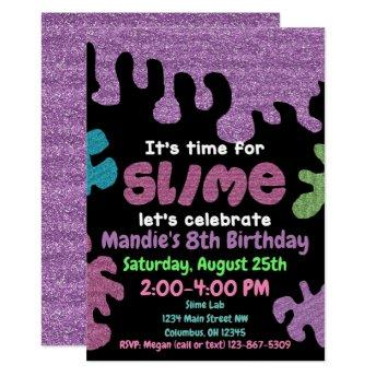 Slime birthday party invitation; slime lab; girls invitation