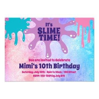 Slime Party Birthday Party Invite