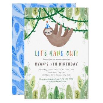 Sloth Birthday Party in Blue and White Invitation