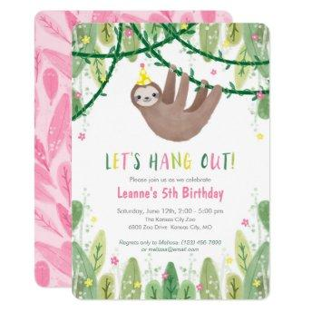 Sloth Birthday Party in Pink & Yellow Invitation