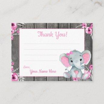 Small Thank You Tags with Text Elephant Pink Gray